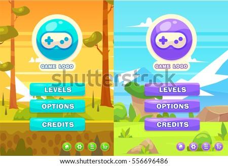 Main Game Menu Nature Background Set Stock Vector Royalty Free - Game menu design
