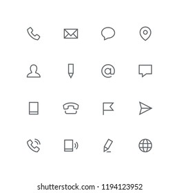 Main outline icon set - phone, envelope, chat, address, man, pen, mail, message, mobile, flag, airplane and globe symbol. Contacts and business vector signs.
