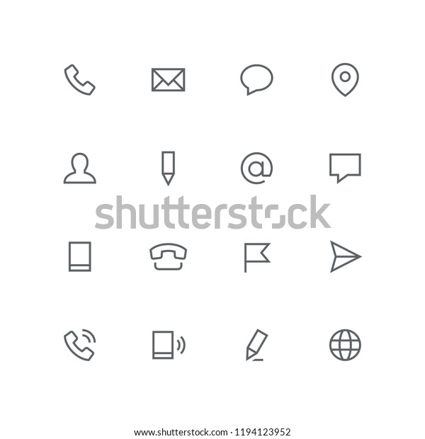 Main Outline Icon Set Phone Envelope Stock Vector (Royalty Free