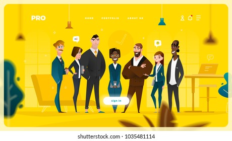 Main Page Web Design with Business Cartoon Characters in Flat Style for Your Projects