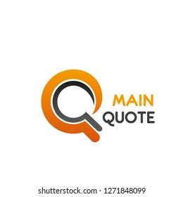Main quote isolated icon letter Q for internet blog and literary quotes or news and newspaper publishing house. Vector letter Q for media portal or information web site
