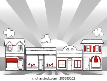Main street stores, retro illustration of American shops and small businesses, sunrise ray background with copy space.  EPS8 compatible.