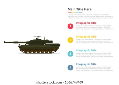 main tank battle infographics template with 4 points of free space text description - vector illustration