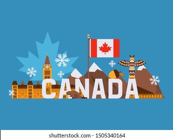 Main tourist symbols of Canada, vector illustration. Canadian flag with red maple leaf, mountains, totem pole, parliament building in Ottawa. Flat style collage on blue background with simple elements