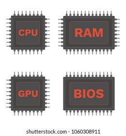 Mainboard components: CPU, GPU, RAM and BIOS microchip. Vector icon.