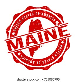 Maine America Original Stamp Design Vector Art Tourism Souvenir Round