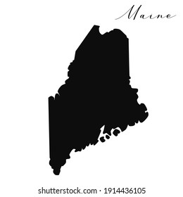 Maine black silhouette vector map. Editable high quality illustration of the American state of Maine simple map
