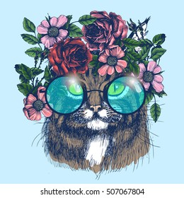 Maine coon cat portrait with floral wreath and round sunglasses. Hand drawn vector illustration. Fashion animal for your design.