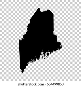 Maine map isolated on transparent background. Black map for your design. Vector illustration, easy to edit.
