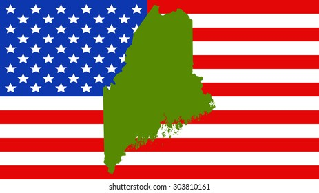 Maine map on a vintage american flag background