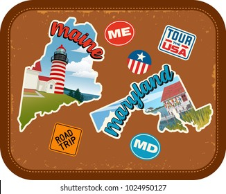 Maine, Maryland travel stickers with scenic attractions and retro text on vintage suitcase background