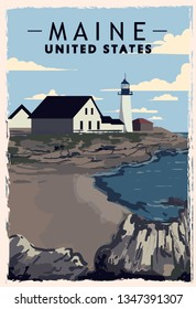 Maine retro poster. USA Maine travel illustration. United States of America greeting card. vector illustration.