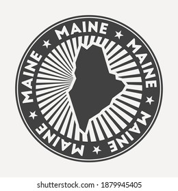 Maine round logo. Vintage travel badge with the circular name and map of us state, vector illustration. Can be used as insignia, logotype, label, sticker or badge of the Maine.