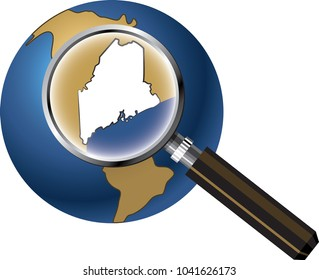 Maine State Map Enlarged with Magnifying Glass on Globe