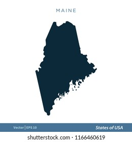 Maine State Usa Map Vector Outline Stock Vector Royalty Free