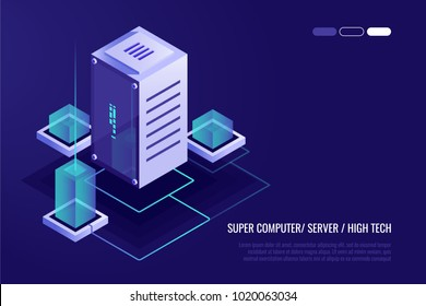 Mainframe, powered server, high technology concept, data center, cloud data storage isometric vector illustration ultraviolet background