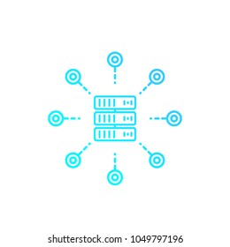 mainframe, server, hosting service vector linear icon on white