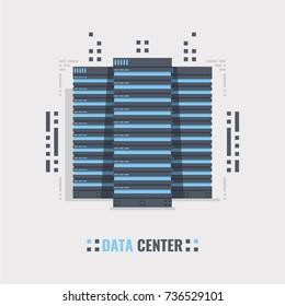 Mainframe service concept banner, server rack vector illustration