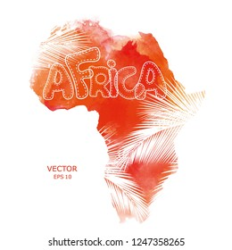Mainland Africa with palm leaf texture. Vector illustration. Textured vector map of Africa. Tribal background. Abstract Background with Watercolor Stains. Vector illustration.