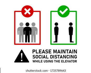 Maintain Social Distancing and Keep Your Distance While Using the Elevator Instruction Sign with Text. Vector Image.