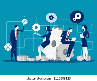 Maintenance. Business people for product development and engineering service, Concept business service vector illustration, Flat business cartoon design, Teamwork character style.