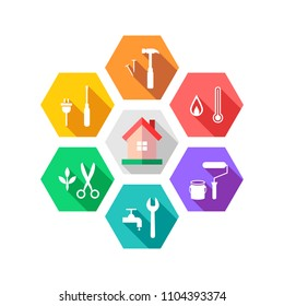 Maintenance and facility management concept with house and work tools around it. Colorful flat design with long shadow in hexagon shape.