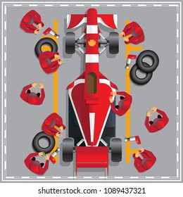 Maintenance of a racing car. View from above. Vector illustration.
