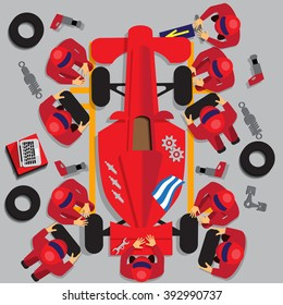 Maintenance of a racing car. View from above. Vector illustration. Applique with realistic shadows.