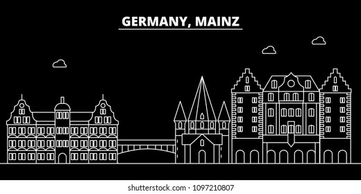 Mainz silhouette skyline. Germany - Mainz vector city, german linear architecture, buildings. Mainz travel illustration, outline landmarks. Germany flat icons, german line banner