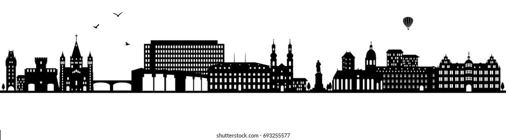 Mainz skyline black (Germany)
