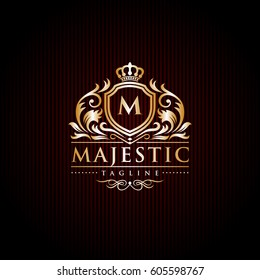 Majestic Brand Logo / Initial Letter Crest / Crown Royal Emblem Vector Template