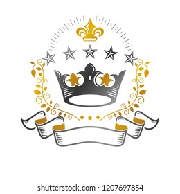 Majestic Crown emblem. Heraldic Coat of Arms decorative logo isolated vector illustration. Ancient logotype on white background.