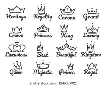 Majestic crown logo. Sketch prince and princess, hand drawn queen sign or king crowns graffiti sketch drawing. Tiara and jewel crown luxury logo vector illustration isolated icons set