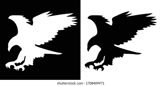 Majestic Eagle in Flight, Wings Spread, Isolated Black and White Vector Illustration