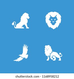 Majestic icon. collection of 4 majestic filled icons such as lion. editable majestic icons for web and mobile.