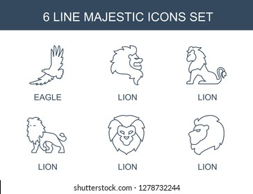 majestic icons. Trendy 6 majestic icons. Contain icons such as eagle, lion. majestic icon for web and mobile.