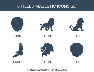 majestic icons. Trendy 6 majestic icons. Contain icons such as lion, eagle. majestic icon for web and mobile.