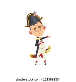 Majestic Napoleon Bonaparte cartoon character, comic French historical figure vector Illustration isolated on a white background