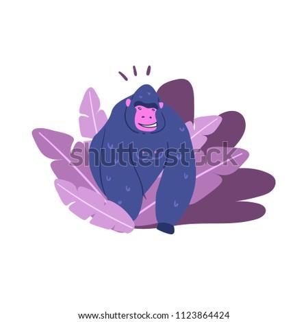 Majestic Purple Gorilla Jungle Collection Stock Vector Royalty Free