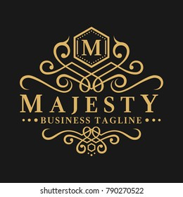 Majesty is a classic and luxurious letter M logo