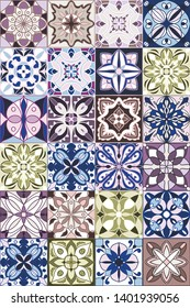 Majolica ethic decoration ceramic tile. Seamless pattern.