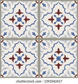Majolica pottery tile, blue, brown and gray azulejo, original traditional Portuguese and Spain decor. Seamless patchwork. Hand drawn pattern. Ceramic tile in talavera style. Vector illustration