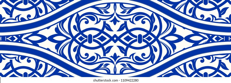 Majolica pottery tile, blue and white azulejo, original traditional Portuguese and Spain decor. Seamless border tile with Victorian motives. Vector illustration.