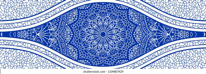 Majolica pottery tile, blue and white azulejo, original traditional Portuguese and Spain decor. Seamless border tile with Victorian motives. Vector illustration