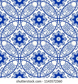 Majolica pottery tile, blue and white azulejo, original traditional Portuguese and Spain decor. Seamless patchwork tile with Victorian motives. Turkish pattern. Vector illustration