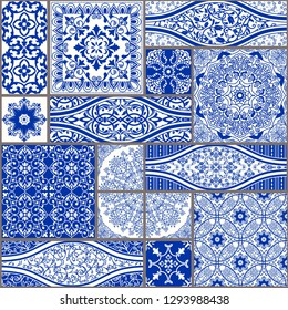 Majolica pottery tile, blue and white azulejo, original traditional Portuguese and Spain decor. Seamless patchwork tile with Victorian motives. Vector illustration.