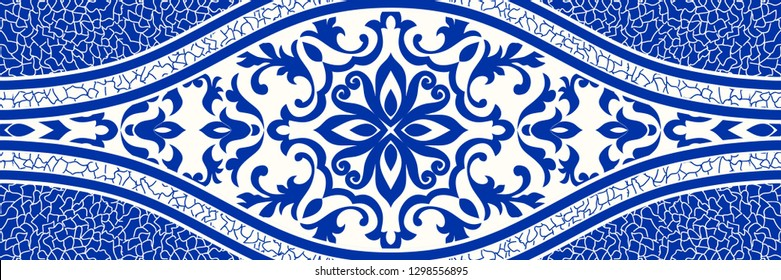 Majolica pottery tile, blue and white  azulejo, original traditional Portuguese and Spain decor. Seamless border with Victorian motives. Vector illustration