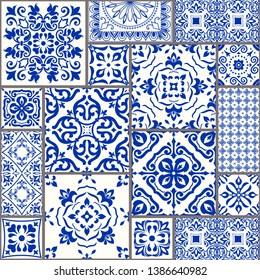 Majolica pottery tile, blue and white azulejo, original traditional Portuguese and Spain decor. Seamless patchwork tile with Victorian motives. Vector illustration