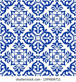 Majolica pottery tile, blue and white azulejo, original traditional Portuguese and Spain decor. Seamless Damask pattern. Hand drawn pattern. Ceramic tile in talavera style.