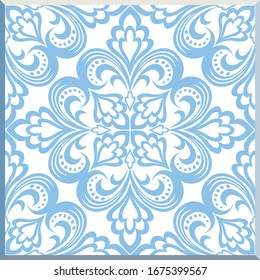 Majolica pottery tile, blue and white azulejos, original traditional Portuguese and Spain decor. Seamless patchwork tile with Victorian motives. Vector illustration